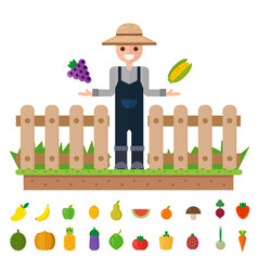 Isolated vegetables set happy gardeners to grow vector