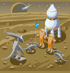 isometric space discovery template vector image