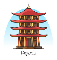japanese or chinese pagodachina or japan building vector image