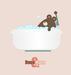 kawaii bear at home vector image