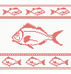 Knitted seamless pattern with fish vector