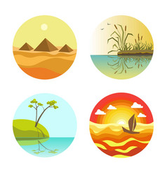 landscape round icons colorful set isolated on vector image