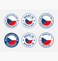 made in czech republic icon set product labels of vector image