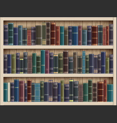 Many books on a wooden bookshelf in library vector