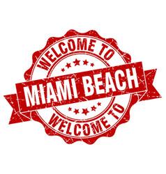 Miami beach round ribbon seal vector
