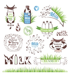 Milk products badges and labels vector image