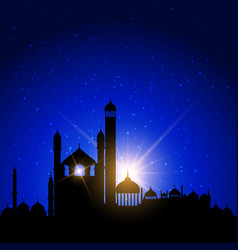 mosque silhouettes against night sky vector image