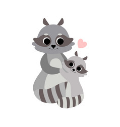 Mother and baraccoon cute forest animal family vector
