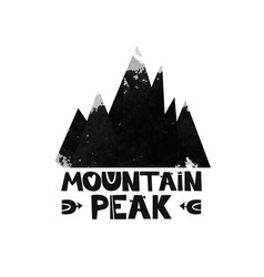 Mountain top peak lettering the text watercolor vector