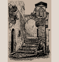 old town street italy old stone house with an vector image