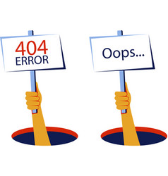 Oops 404 error website template vector