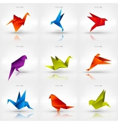 Origami paper bird on abstract background set vector