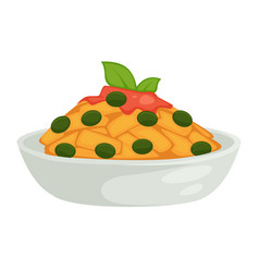 pasta sauce and olives isolated dish pastry food vector image