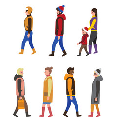 People in winter coats profile and front view icon vector
