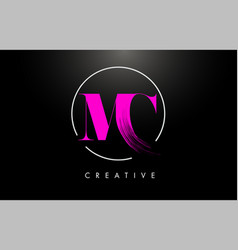 Pink mc brush stroke letter logo design pink vector