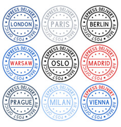 Postmarks collection ink stamps with european vector