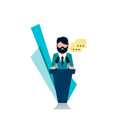 public speaking on podium vector image