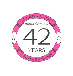 realistic forty two years anniversary celebration vector image