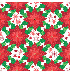 red poinsettia seamless pattern background vector image