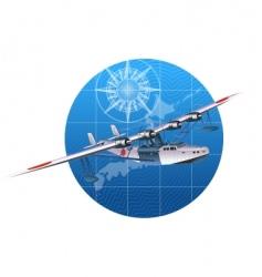 Retro hydroplane 30-s vector
