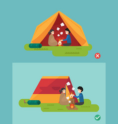 Right and wrong ways to prepare a camp vector
