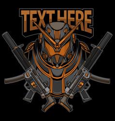 robot warrior logo vector image
