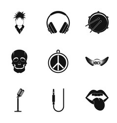 rock equipment icon set simple style vector image