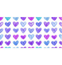 seamless pattern with hand drawn color hearts vector image