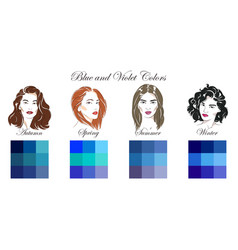 Seasonal color analysis blue and violet colors vector