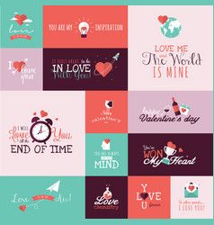 Set flat design valentines day signs vector