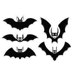 set of halloween icons monster bats vector image