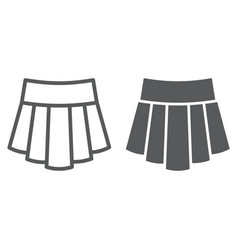 skirt line and glyph icon clothing and female vector image