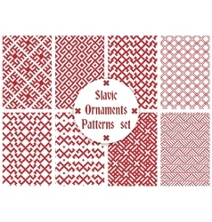 slavic ornaments patterns set vector image