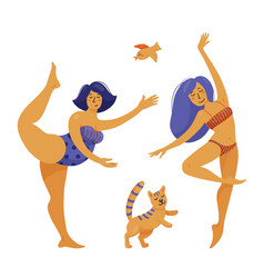 slim and plus size chubby woman dancing ballet vector image