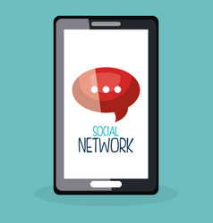 Smartphone with social network icons vector