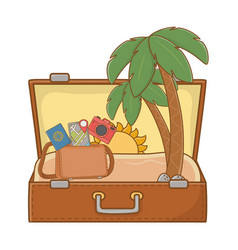 Suitcase cartoon summer and travel vector