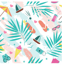 Summer time seamless pattern with colorful beach vector
