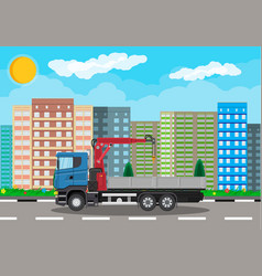 truck with crane and platform cityscape vector image