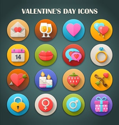 Valentines Day Icons with Long Shadow vector image