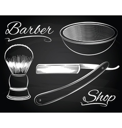 Vintage barber shop shaving straight razor vector image