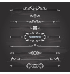 Vintage dividers set on chalkboard vector