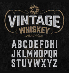 vintage whiskey label font with sample design vector image