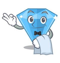 Waiter sapphire gem in a mascot box vector