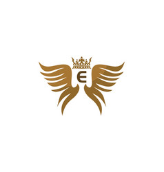 Wing shield crown initial e vector