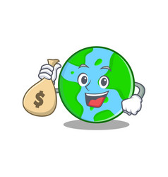 with money bag world globe character cartoon vector image
