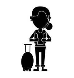 Woman looking map baggage travel pictogram vector
