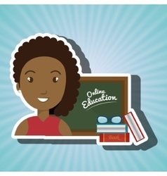 Woman student online education vector