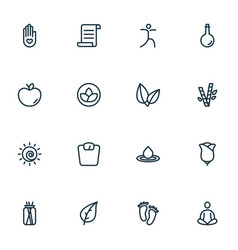 yoga icons line style set with water drop bamboo vector image