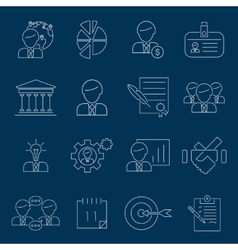 Business management icons outline vector image