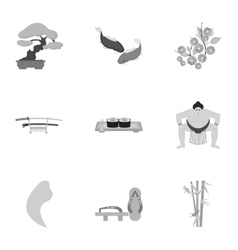 Japan set icons in monochrome style Big vector image vector image